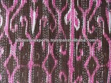 Ikat Kantha Quilt, Printed Kantha Bed spread