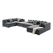 U-shaped grey fabric sofa set with coffee table
