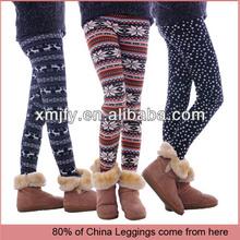 Latest winter thick flower printed cotton tight leggings,lady fashion print winter leggings
