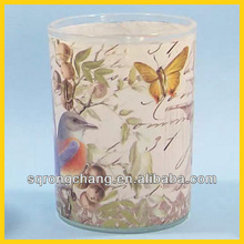 decal glass candle jars with butterfly