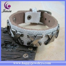 New coming products top selling genuine leather bracelet magnetic clasp leather wrap bracelet SL0253-4