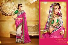 Elegant look Creams,pink color combination sarees with embroidery pallu Fancy Party Wear Sari 1008