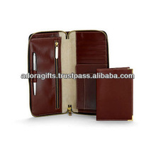 ADATW - 0155 genuine leather travel wallets with zip coin pocket / travel wallets for gift / leather travel wallets supplier