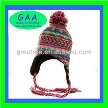 100 acrylic jacquard beanie hats with pom pom & ear flaps fashionable winter caps for girls