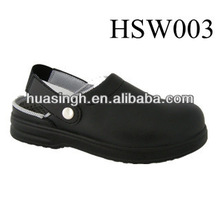 JY,anti-static function oil and acid resistant upper USA clog style black chef working shoes