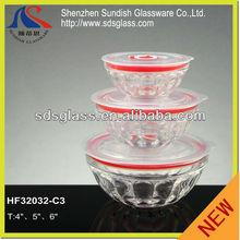 3 pieces glass bowl HF32032