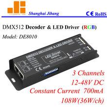 DMX Decoder RGB Controller, pwm LED driver, constant current 700mA, 3CH/12-48V/108W pn:DE8010