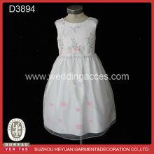 Elegant sleeveless embroidered piece flower girl dress