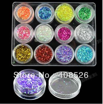 New Fashion 12 Colors Hexagon Nail Art Glitter Nail Art Powder Decoration 10910