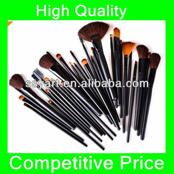 32pcs wood Makeup Eyebrow Shadow Cosmetic Brush Set Kit with Bag