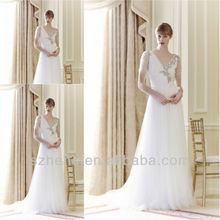 Free shipping CW1458 Vintage v neck short sleeve beaded bride casual wedding dresses