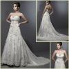 KW0050 Stereoscopic Flowers Crystal Applique A-line Wedding Dress
