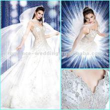2012 New Model PD0007 Fantastic Sparkly Crystal Beading Custom Made Wedding Dress