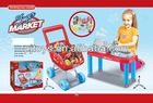 Hot and newest kids plastic supermarket play set toy shopping cart with cashier desk