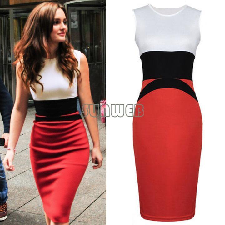2014 Womens Celebrity Midi Bodycon Ladies Red Pencil Evening Slimming Panel Tea Dress Plus size  ...