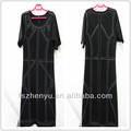 moda europea delle donne vestiti manica corta maturo plus size abiti invernali con perline