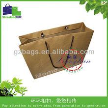 charcoal kraft paper bag/paper bag rope handle/flat bottom kraft paper bag