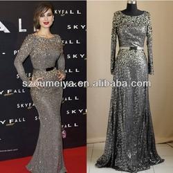 OUMEIYA OEE830 Long Sleeve Slit Skirt Sequins Crystal Beaded Ladies Long Evening Party Wear Gown