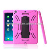 Shock proof silicone tablet case for ipad,Hotpink/Black Popular shock proof PC silicone combo case with kickstand for IPAD 5
