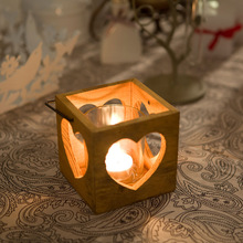 small handmade square wooden candle lantern