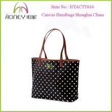 Wholesale Fashion 2014 Canvas Handbags Shanghai Sassy Polka Dots Canvas Handbags Shanghai