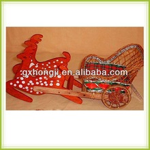 handmade rattan deer and sleigh for xmas decoration