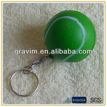 Green color tennis ball PU foam keychain