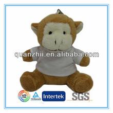 Soft mini plush monkey with T-shirt keychain