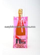 Professional pinky plastic ice bag for wine pvc wine bag