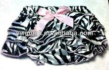 Satin Baby Bloomers Diaper Cover Ruffle Back - Photo Prop Animal Print Zebra / Light Pink