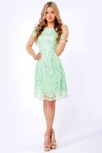 2014 New Arrival Mint Green Sheath short sleeve Hollow knee length Lace Short Cocktail Dress
