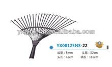 22Tine/teeth High carbon steel/metal garden leaf rake