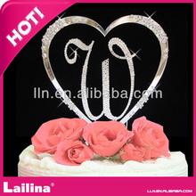 Fashion Heart wedding crystal Rhinestone Cake topper for sale