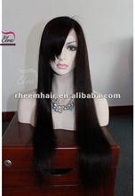 side bang long unprocessed virgin brazilian hair full thin skin cap human hair lace wigs