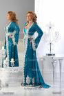 2013 New Arrival Abaya Dubai Kaftan Long Sleeves Swetheart Blue Lace Applique Floor length Evening Dresses