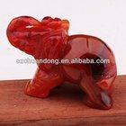 Natural Red Agate Semi-precious gemstone elephant carving
