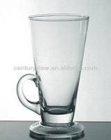 wholesale cheap juice coffee round glass mug with stem