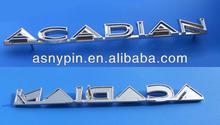 Chrome letters auto car emblem with screws, acadian auto car grille badge emblem