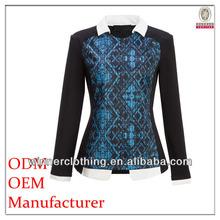 Autumn New Style Export Garment placenment print long corporate elastic waist blouse