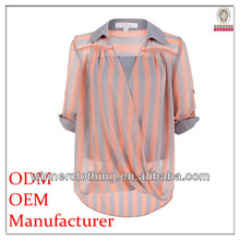 Fashion clothing factories in China folded sleeve see through Fashion clothing factories in China folded sleeve red silk blouse
