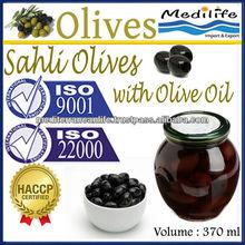 100% Tunisian Black Olives,Sahli Olives with Olive Oil, Natural Sahli Olives with Olive Oil. 370 ml Glass Jar