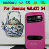 New flip skylight genuine leather case for sansung GALAXY S4 rhinestone cell phone cases cell mobile phone case