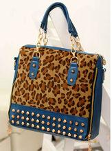 Fashion Wholesale China Lady Bags Handbags Manufacturer Rivet Bag Leopard Top Handle Bag