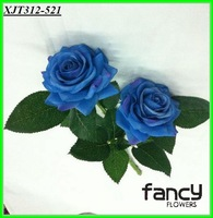 2 heads artificial real touch blue roses