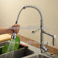 Chrome finish solid brass contemporary deck mount dual flow spout kitchen faucet pull down