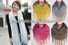 Fashion Women's Winter Warm infinity scarf knitting pattern scarf tassel long pattern knit scarf