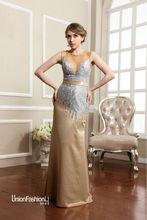 Marvelous 2014 Golden and Silver Short Sleeve Women Cheap Evening Dresses vestidos largos de fiesta