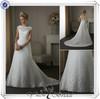 QQ743 Stunning sheer tulle bateau neckline wedding dress a-line wedding dress with low cut back