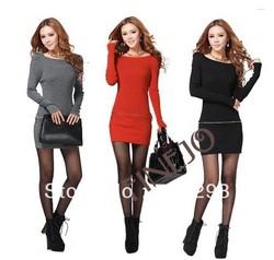 Korean Fashion Women's Girl Slim Knitting Long Sleeve Over Hip Sweater Dress 9396