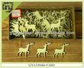 Artesanías de madera natural de reno en forma de navidad adornos